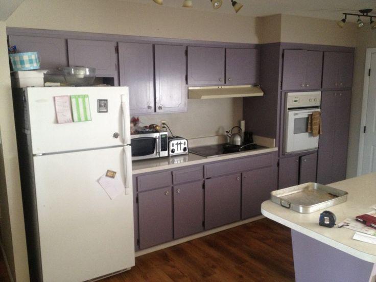 Kitchen, Amazed Purple Kitchen Cabinet With White Refrigerator Around