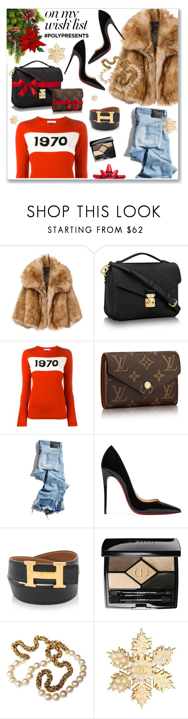 """#PolyPresents: Wish List"" by hellodollface ❤ liked on Polyvore featuring Bella Freud, R13, Christian Louboutin, Hermès, Christian Dior, Chanel, Martha Stewart, contestentry and polyPresents"