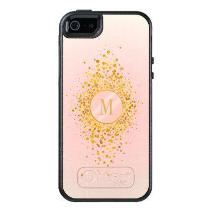 Confetti Monogram Rose Gold Foil ID445 OtterBox iPhone 5/5s/SE Case - rose gold style stylish diy idea custom