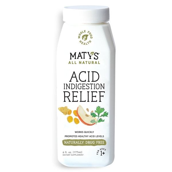 Made with whole food ingredients, Maty's All Natural Acid Indigestion Relief syrup helps maintain healthy acid levels with no harmful side effects.
