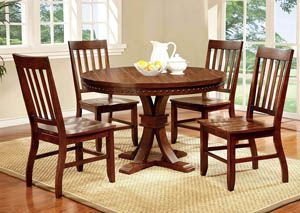 Furniture Of America Dark Oak Karl Rustic Round Dining Table Brown