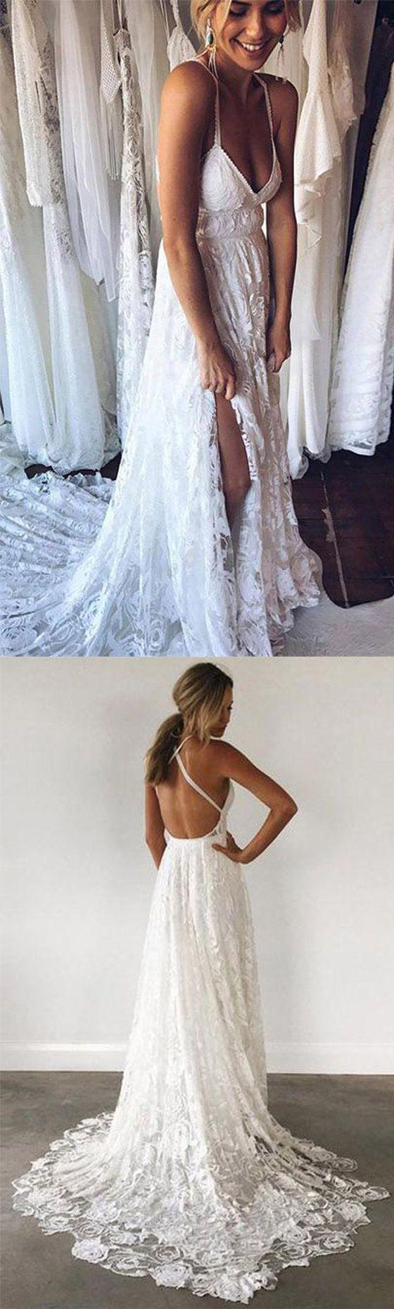 Ivory Lace Open Back Spaghetti Strap Side Split Beach Long Wedding Dresses, WG1245 #weddingdress #brides