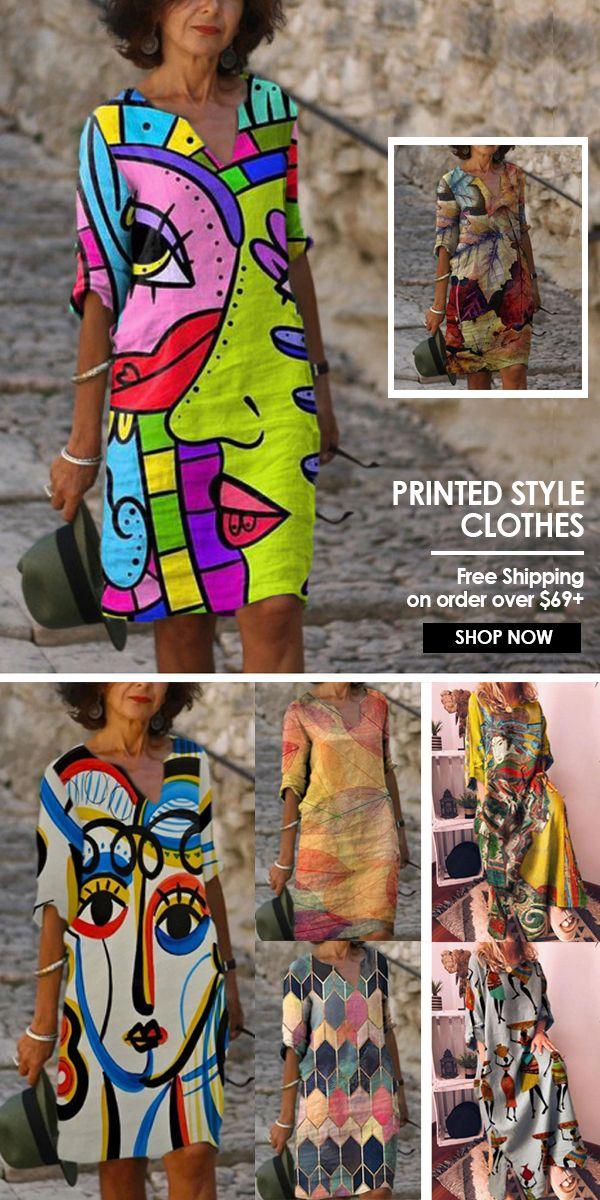 V Neck Casual Shift Dresses Shift Dress Casual Fashion Prints Affordable Clothes