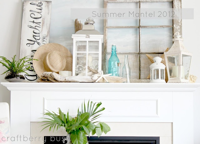Summer mantle: beach theme with drift wood and hat