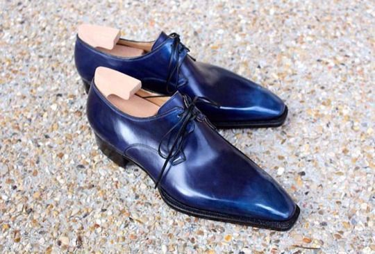 Handmade men leather shoes, navy blue dress shoes men, men formal leather shoes - Dress/Formal