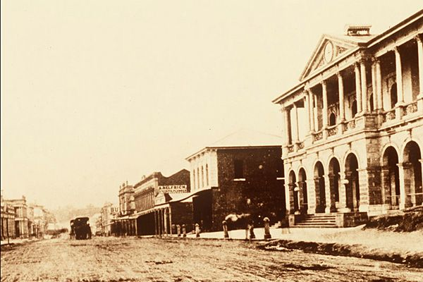 A historic photo of the General Post Office in Brisbane.