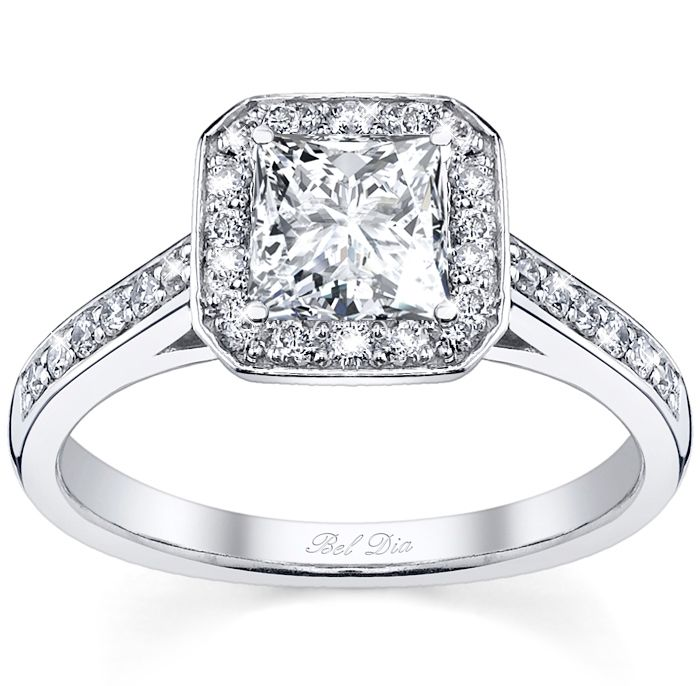 princess cut engagement ring from the Bel Dia Collection from DeBebians.