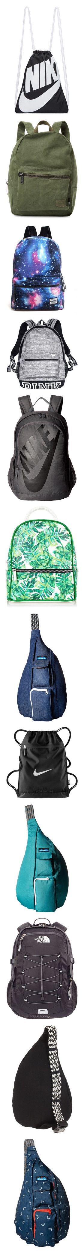 """""""backpacks"""" by violetsnroses ❤ liked on Polyvore featuring bags, backpacks, accessories, backpack, nike, purses, black, draw string backpack, drawstring bag and drawstring backpack"""
