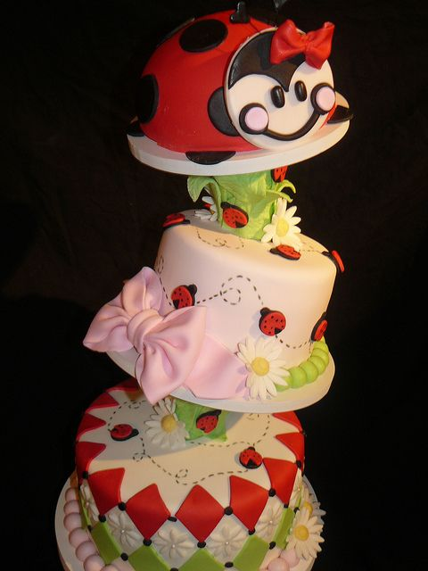 Topsy Turvy 1st birthday cake. The lady bug was removed and used as the smash cake.