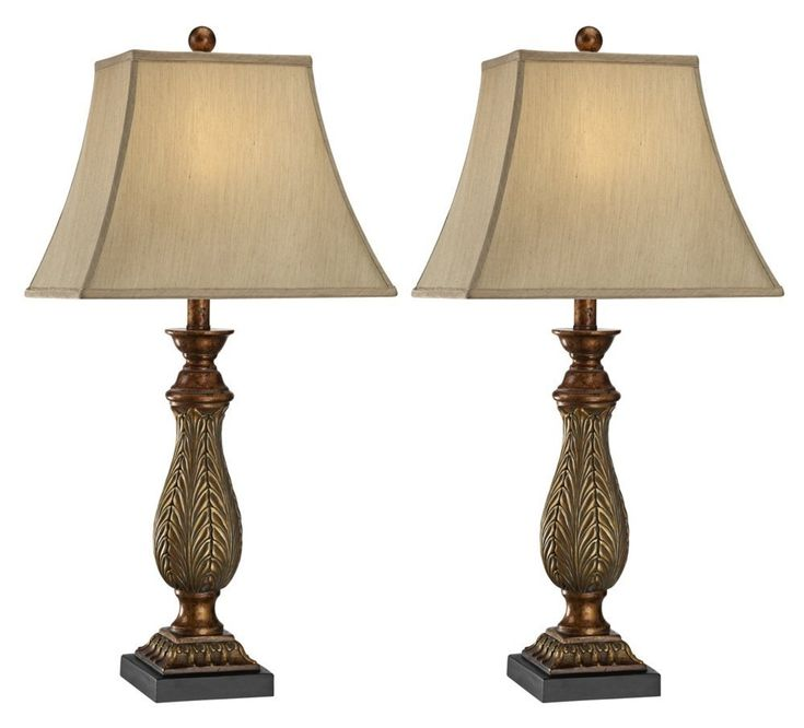 "Set of 2 Two-Tone Gold 29"" High Traditional Table Lamps - - Amazon.com"
