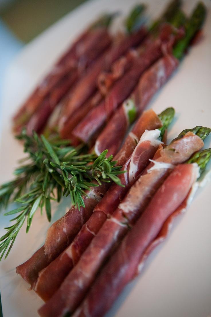 Pancetta wrapped asparagus  Lightly steam asparagus, wrap in pancetta!  So good : )