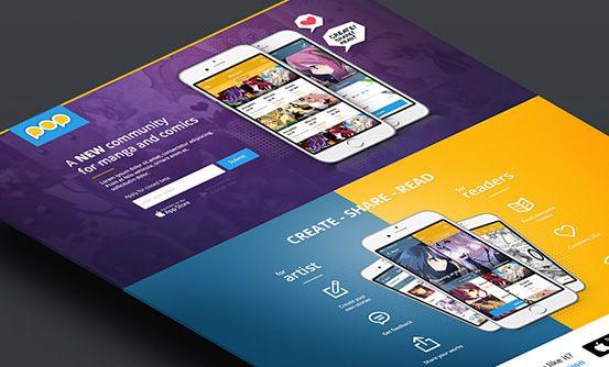 www.popcomics.com - projekt graficzny aplikacji webowej i mobilnej dla twórców i fanów komiksów