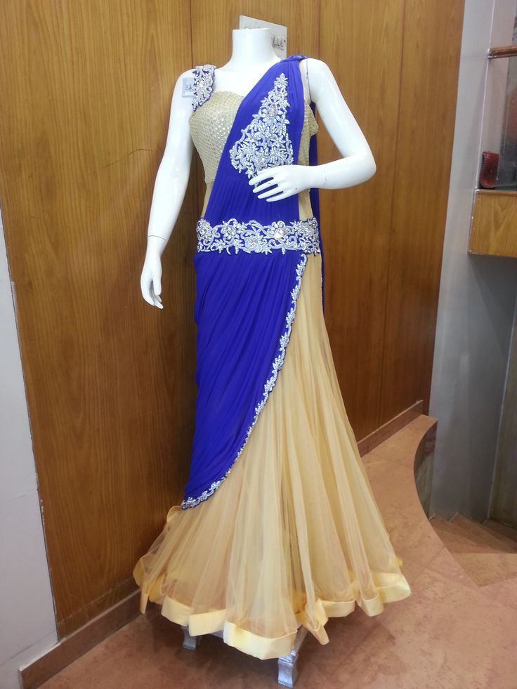 The all new #Gown #Saree with the combination of #RoyalBlue with…