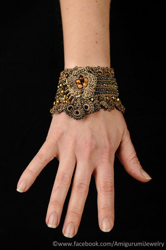Brown Gold Beaded Crochet Cuff Bracelet. by KaterinaDimitrova