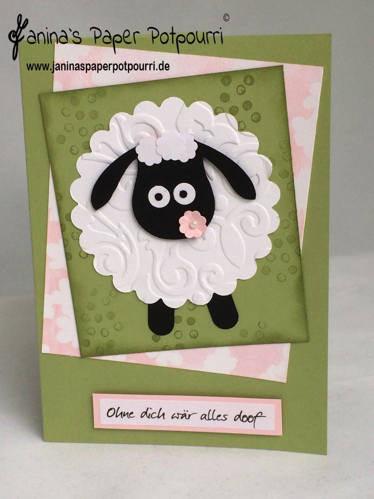 Punch Art Schaf Karte/ sheep card  Eulen Stanze / owl punch Stampin' Up! www.janinaspaperpotpourri.de