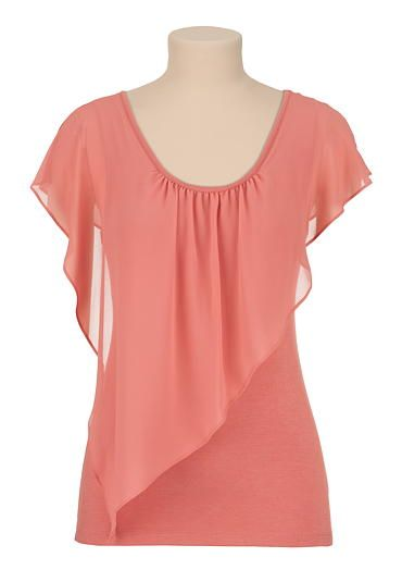 Flutter sleeve chiffon overlay tee (original price, $26) available at #Maurices