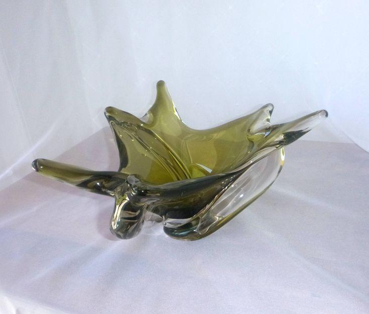 Grand BOL / PLAT massif - Verre soufflé - Signé CHALET Canada - Vert forêt et cristal clair - Art Glass - Murano canadien de la boutique CherieVerrerie sur Etsy