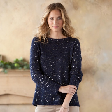 """STARDUST SWEATER--Aglimmer with metallic flecks, this midnight-hued pullover celebrates with a subtle sparkle. Perfect for the tree-trimming party or Yuletide festivities. Loose, slouchy silhouette with bateau neckline. Dry clean. Imported. Sizes XS (0 to 2), S (4 to 6), M (8 to 10), L (12). Approx. 25-1/2""""L."""