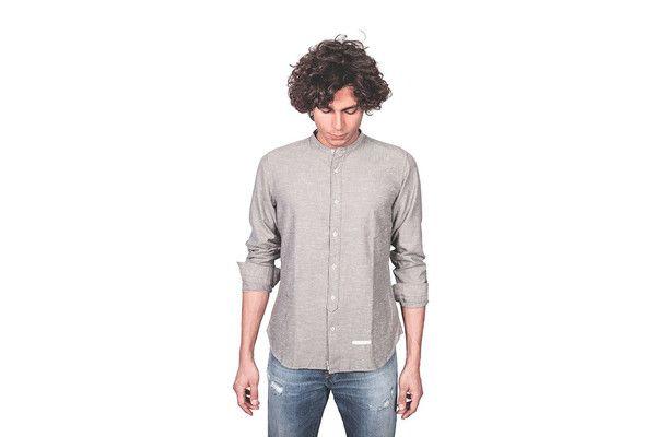 Camicia coreana flanella spinata grigia