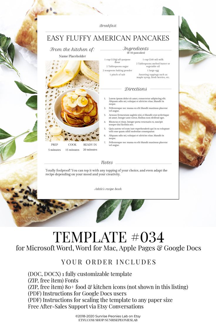 Best Seller Editable Recipe Page 034 Instant Download Etsy Homemade Cookbook Cookbook Template Recipe Template Cookbook table of contents template