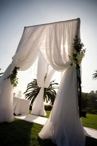 Chic wedding alter @Kim Shepherd- something like this but with another swath of & Best 25+ Outdoor wedding canopy ideas on Pinterest | Outdoor ...