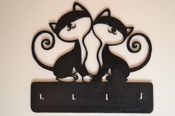 Wooden Wall Keyring Decorative Painting Car Couple Of Cats Etsy In 2021 Frame Decor Decorative Painting Wooden