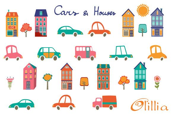 Cars and houses by Olillia on Creative Market