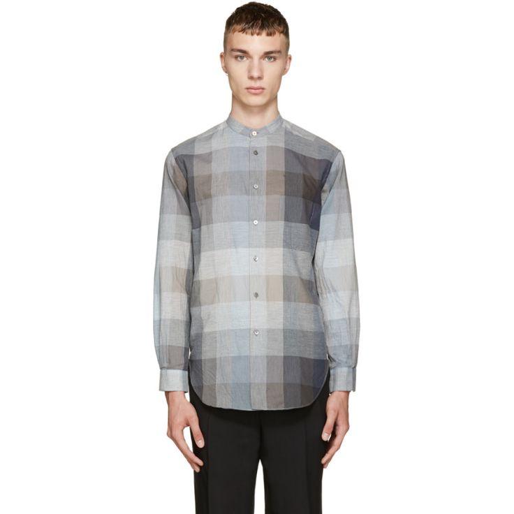 Paul Smith Grey Check Grandad Shirt