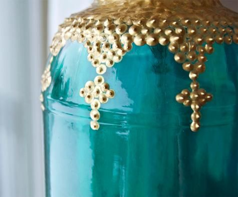 #DIY Morrocan Lanterns... adoring this bright color and the styling of these! Would be great outdoors. /ES