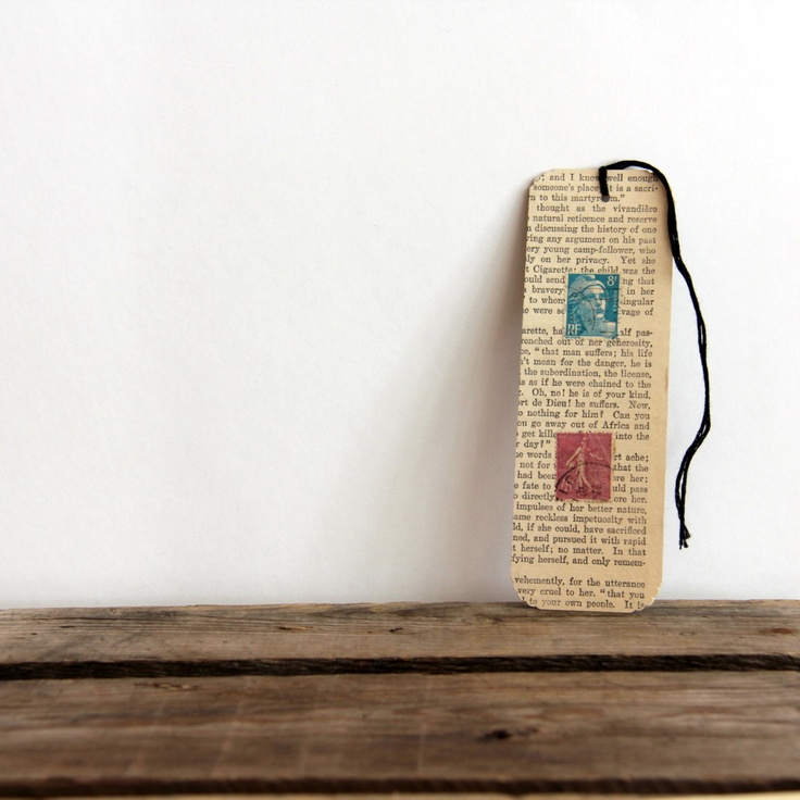Vintage Book Page Bookmark -- possible shower favor, could include a small picture of the couple and the date