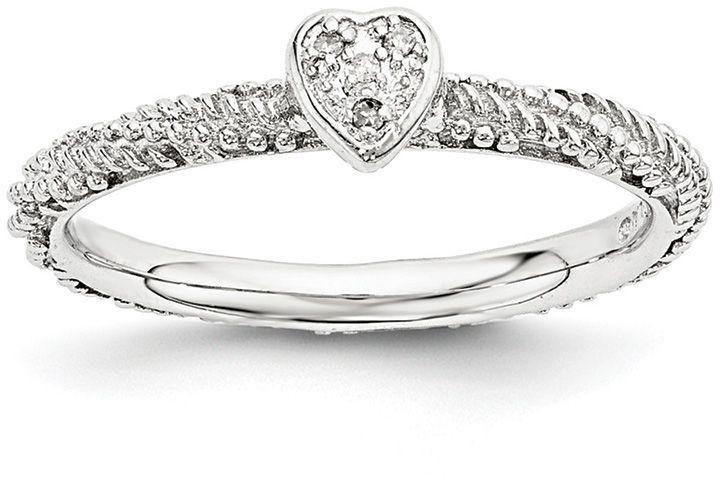 Zales Stackable Expressions Composite Garnet Heart Ring in Sterling Silver jWfNvGGA