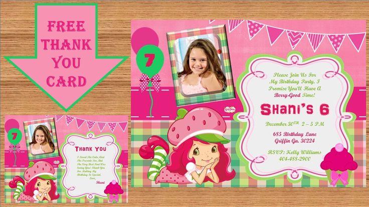 Strawberry Shortcake Invitation, Strawberry Shortcake Birthday, Strawberry Shortcake Birthday Party, Printable #Strawberry Shortcake 0002 by kellylynn1973 on Etsy