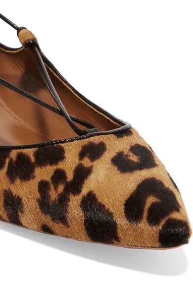Aquazzura - Christy Leopard-print Calf Hair Point-toe Flats - Leopard print - IT