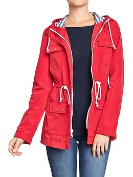 Women's Hooded Jersey-Lined Raincoats   Old Navy   I need a rain coat for London.