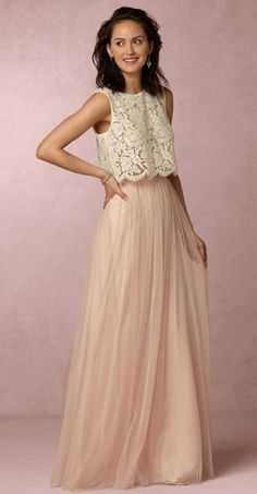 Classic two piece bridesmaid dress with lace top and tulle blush skirt; Featured Dress: BHLDN