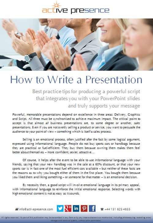 Best practice tips for producing a powerful script that integrates you with your PowerPoint slides and truly supports your message...