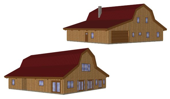 3d model 24x52 pre designed great plains gambrel barn home for Gambrel garage kit