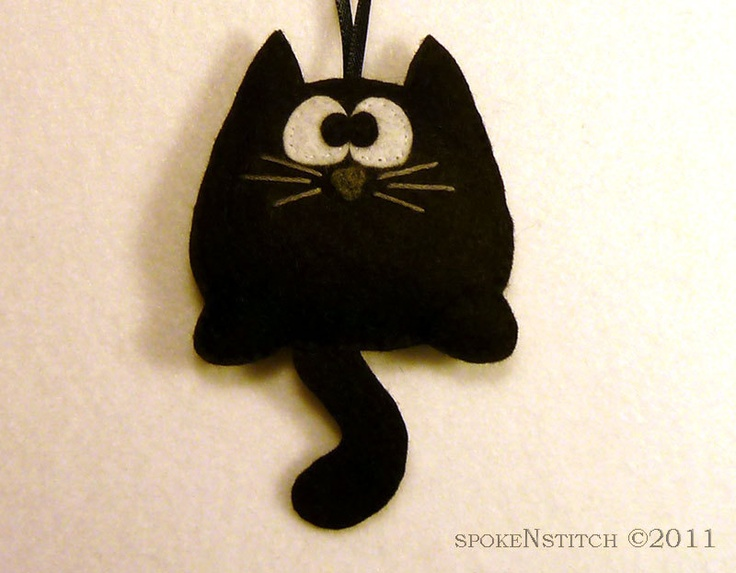 Felt Christmas Ornament - Morpheus the Black Kitty. $10.50, via Etsy.