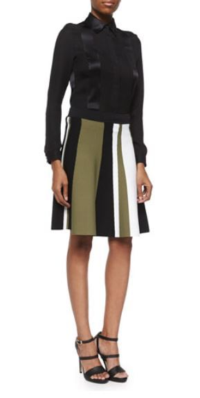 Colorblock Flared Knit Skirt Ohne Titel striped knit skirt. Sits at natural waist. Pull-on style. Flared silhouette.