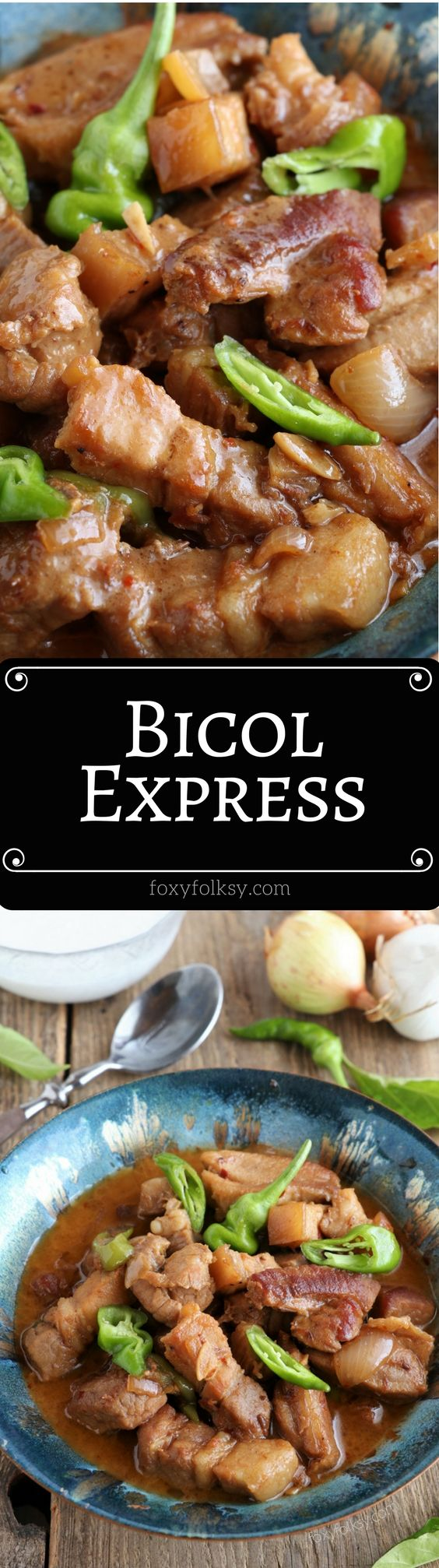 Try this popular Filipino dish, Bicol Express! A spicy pork stew in coconut milk. | www.foxyfolksy.com