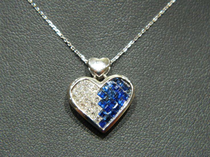 Diamond and Blue Sapphire Heart Pendant