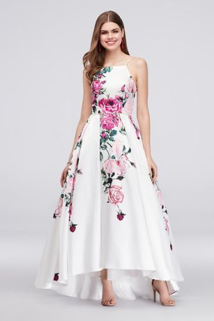 Bold roses bloom down the high-neck bodice and full skirt of this high-low ball gown. By Betsy & Adam Polyester Back zipper; fully lined Spot clean USA