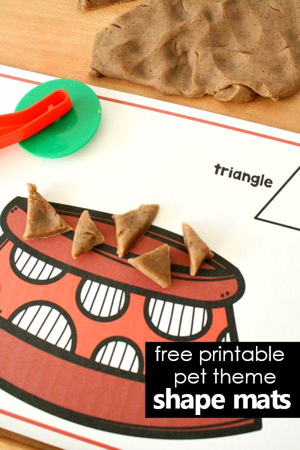 Free printable 2D shape mats for preschool pet theme play dough invitation #pettheme #freeprintable #playdough