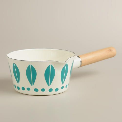 One of my favorite discoveries at WorldMarket.com: White with Aqua Dots Enamel Saucepan