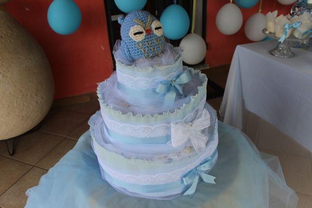 #babyshower #allestimento #bimbo #baby #isievnti #azzurro #tortadipannolini torta di pannolini www.isieventi.com