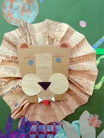 Newspaper Lion Collage