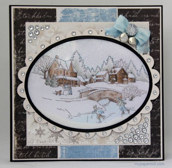 Christmas shaker card made for Norwegian card magazine Ett Trykk. Image by Inkadinkado colored with   Copics, patterned paper by Maja Design.