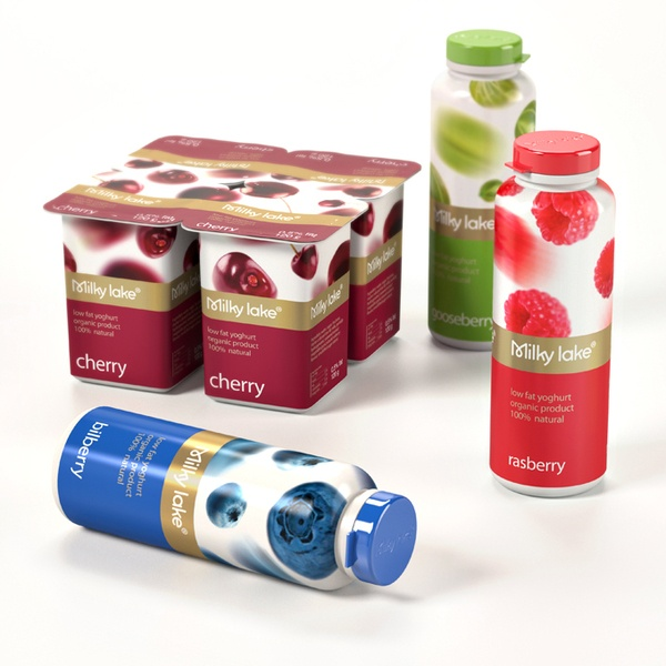 Milky Lake yogurt packaging.