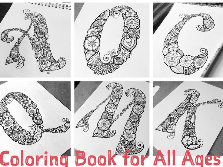 Floral Letters Coloring : Floral letter coloring book adults vector stock 414755503