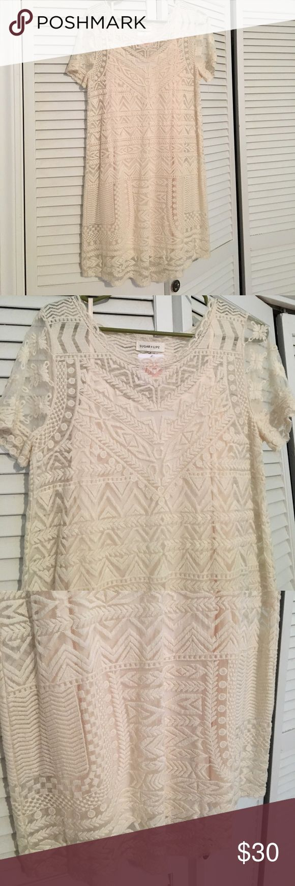 Lace Cream Colored Dress NWT Lace Cream Colored Dress. NWT. Boutique dress. Sugar + Lips Dresses